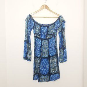 Joyce   Paisley Floral Blue Off-Shoulder Stretch M